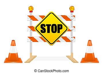 ベクトル, 一時停止標識, 道の ブロック, 道具