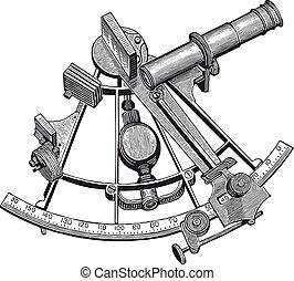 ベクトル, 六分儀, 彫版, 高く, 細部