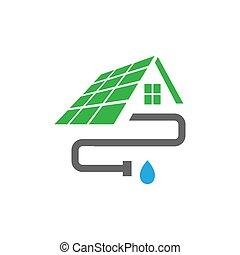 ベクトル, 取付け, テンプレート, パイプ, 家, ロゴ, デザイン, 家, 屋根, 溝, 外面