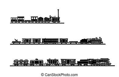ベクトル, 古い, 列車, 背景, セット, 白