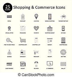 ベクトル, 商業, セット, 買い物, アイコン