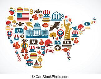ベクトル, 地図, 多数, アメリカ, アイコン