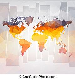 ベクトル, 地図, 概念, 現代, 世界