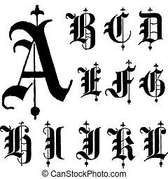 ベクトル, 壷, gothic, 中世, a-l
