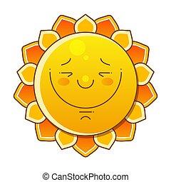 ベクトル, 太陽, イラスト, 白, すてきである, 上に, 背景, -