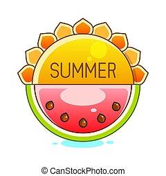 ベクトル, 太陽, シンボル, 黄色, 夏, illustration.