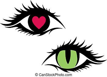 ベクトル, 女性, 目