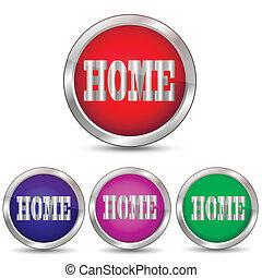 ベクトル, 家, ボタン