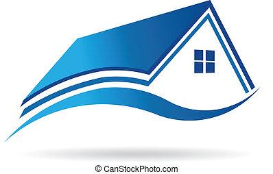 ベクトル, 家, 財産, アイコン, アクア色の青, image., 実質