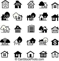 ベクトル, 家, icon., セット, illustration.
