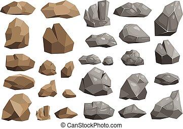 ベクトル, 山, stoniness, セット, 岩が多い, 地質学, ロッキーズ, 隔離された, イラスト, 材料, 山が多い, 背景, 岩石, 白, rockstone, ∥あるいは∥, 石, 崖