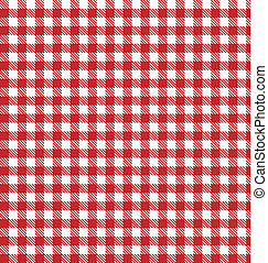 ベクトル, 布, checkered, ピクニック, 赤