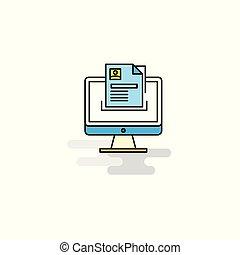 ベクトル, 平ら, icon., コンピュータ文書
