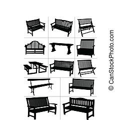 ベクトル, 庭, 大きい, セット, benches.