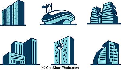 ベクトル, 建物, 3d, セット, アイコン