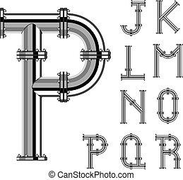 ベクトル, 手紙, クロム, アルファベット, パイプ, 部分, 2