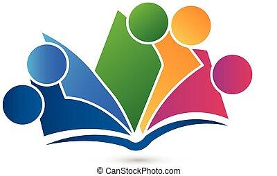 ベクトル, 本, ロゴ, チームワーク, 教育