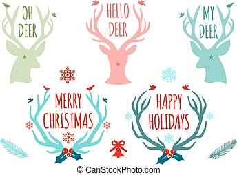 ベクトル, 枝角, セット, 鹿, クリスマス