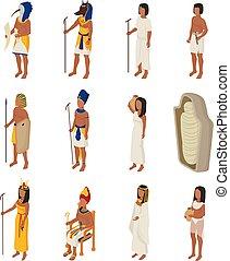 ベクトル, 歴史, 女, 古代, horus, 人々, エジプト, 神, cleopatra, エジプト人, 特徴, 隔離された, イラスト, セット, 文明, 背景, egyptology, 白, 人, ファラオ