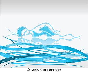 ベクトル, 浮く, waves., イラスト, スイマー