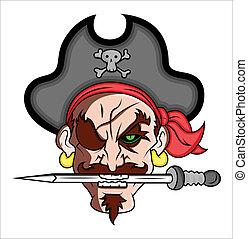 ベクトル, 海賊, イラスト, マスコット