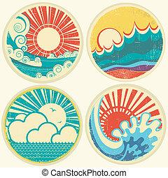 ベクトル, 海, 太陽, waves., 海景, アイコン, 型, イラスト