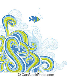 ベクトル, 海, 背景, 波