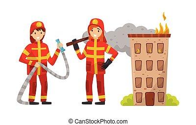 ベクトル, 消防士, 白, tools., イラスト, バックグラウンド。, ユニフォーム