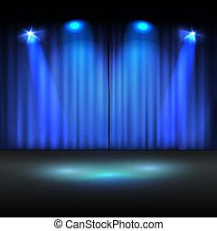 ベクトル, 照らされた, テンプレート, ステージ