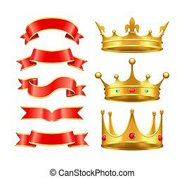 ベクトル, 王冠, セット, リボン, アイコン, イラスト
