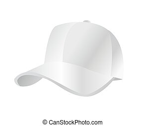 ベクトル, 白, 帽子, 野球, イラスト