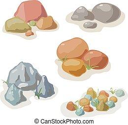 ベクトル, 石, セット, コレクション, 岩