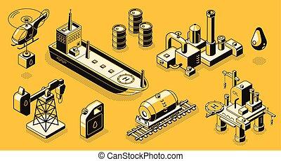 ベクトル, 等大, オイル, オブジェクト, アイコン, 産業, セット