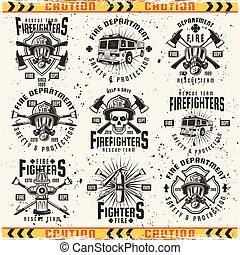 ベクトル, 紋章, 型, セット, 部門, 火