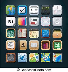 ベクトル, 網, app, セット, アイコン