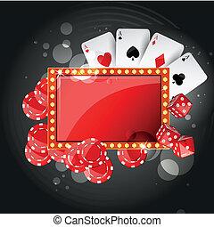 ベクトル, 背景, カジノ