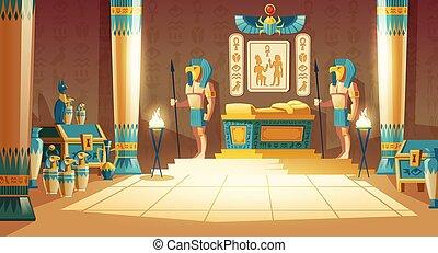 ベクトル, 背景, ファラオ, 漫画, 古代, 墓