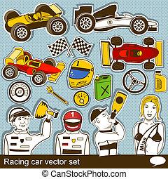 ベクトル, 自動車, セット, 競争