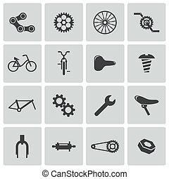 ベクトル, 自転車, アイコン, 部分, 黒, セット