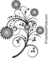 ベクトル, 花の要素, デザイン, イラスト