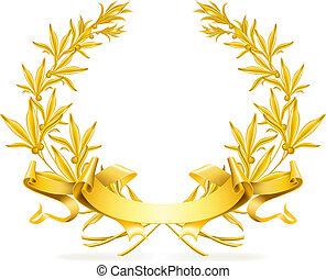 ベクトル, 花輪, 金