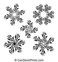 ベクトル, 花, セット, ラウンド, ornaments.