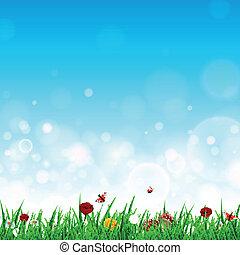 ベクトル, 花, 草, 風景