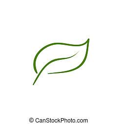 ベクトル, 葉, 自然, アイコン