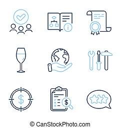 ベクトル, 道具, ドル, 星, レポート, テクニカル, signs., スパナー, set., wineglass, 会計, algorithm, ターゲット, アイコン
