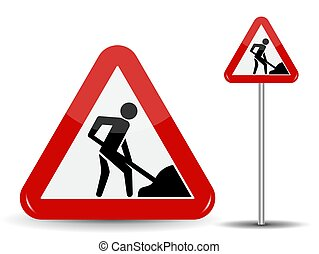 ベクトル, 道, シャベル, 三角形, illustration., warning:, 印, works., 彼の, hands., 赤, 人