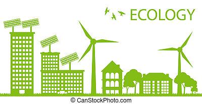 ベクトル, 都市, 概念, eco, エコロジー, 緑の背景
