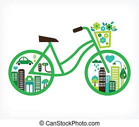 ベクトル, 都市, -, 自転車, 緑