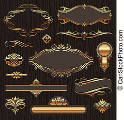 ベクトル, 金, 華やか, ページ旗, 背景, セット, 暗い, フレーム, パターン, 木, deviders, 装飾, 装飾, elements: