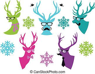 ベクトル, 鹿, セット, クリスマス, 頭